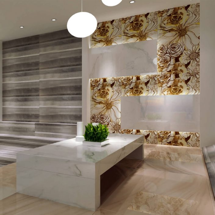 thin flower marble tile